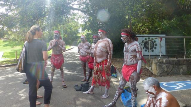 Aboriginal group on filmset - Shelly Beach, Sydney, New South Wales, Australia