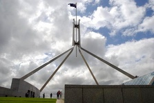 Flag above the Parliament House - Canberra, ATC, Australia