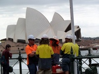 Workers in Front of Opera House - Sydney, New South Wales, Australia
