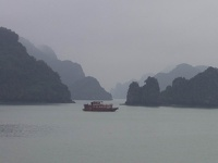 Dragon Boat between limestone islets - Halong Bay, Gulf of Tonkin, Northeast Vietnam