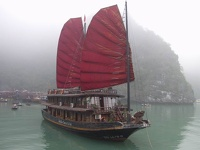 Dragon Boat in front of Hang Sung Sot - Halong Bay, Gulf of Tonkin, Northeast Vietnam