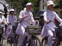 Schoolgirls on her way back home - Dalat, Southern Vietnam