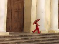girl in red - Remedios, Cienfuegos province, Cuba