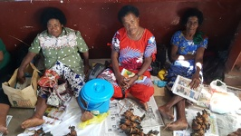 Market women sell crabs - City of Lautoka Fiji Island Viti Levu