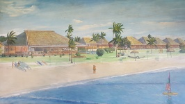 Painting of the Resort in1992 - Club Fiji Resort Fiji Island Viti Levu