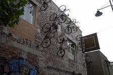 Bikes on the wall - SOL Square, Christchurch, NZ