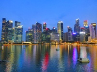 Skyline at night - Marina Sands Bay Singapore