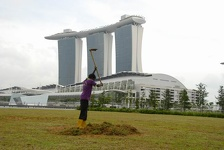 Gardener in front of - Marina Bay Sands Hotel, Singapore