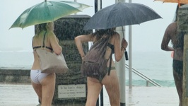 Bikini Ladies in rain - Manly Beach Sydney New South Wales Australia
