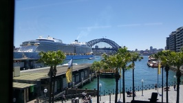 Cruise ship at Harbour Bridge - Sydney New South Wales Australia